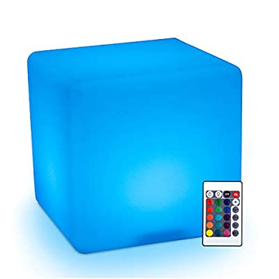 """HOMCOM 16"""" RGB Waterproof Rechargeable Adjustable Color Changing Cube With Remote Control"""