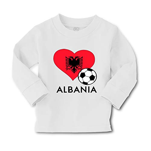 Cute Rascals Kids Long Sleeve T Shirt Albanian Soccer Albania Football Cotton Boy & Girl Clothes Funny Graphic Tee A White Design Only 3T