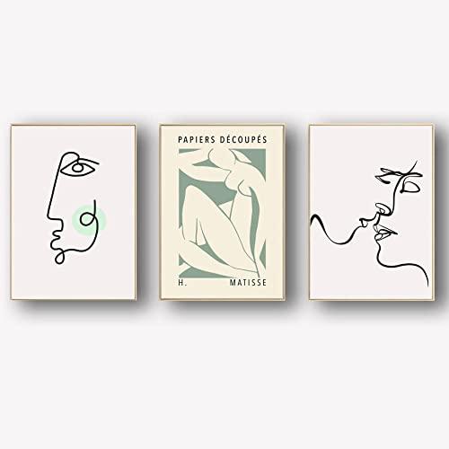 Henri Matisse Body line Poster Prints Cara abstracta Lienzo Arte pared Pintura de pared minimalista Obra de arte Cuadros de pared Sala de estar Decoración galería 30×40cm×3 Sin marco