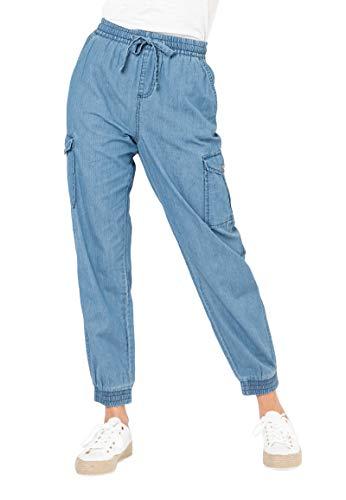 Sublevel Damen Cargo Jeans-Hose aus leichtem Denim Middle-Blue XS