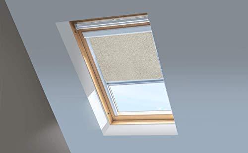Classic Roof Blinds Skylight - Persianas para Ventanas de Techo Fakro, Estor Opaco, Arena, Marco de Aluminio Plateado, 134/98 (Code 12)