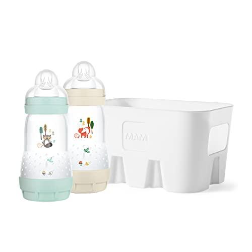 MAM Easy Start Elements 2+1 Vorteils-Set, 2x MAM Anti-Colic Babyflasche (260 ml) + 1x Flaschenkorb für 6 Flaschen, Baby Trinkflasche mit Bodenventil gegen Koliken, 0+ Monate, Fuchs/Waschbär
