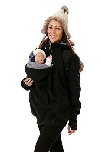 GoFuture - Chaqueta portabebés 4 en 1 para mamá, papá y canguro de forro polar con bebé y embarazada Negro Plus puntos claros (puntos pequeños) sobre gris. M