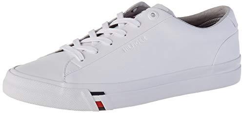 Tommy Hilfiger Herren Corporate Leather Sneaker, Weiß (White Ybs), 43 EU