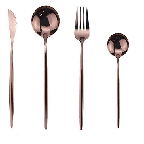 Conjunto de Cubiertos, vajilla de Cubiertos de Acero Inoxidable Conjunto de vajillas Familiares con Cuchillo Cuchara Tenedor, Servicio para 4 Personas, 16 Piezas, Oro Rosa