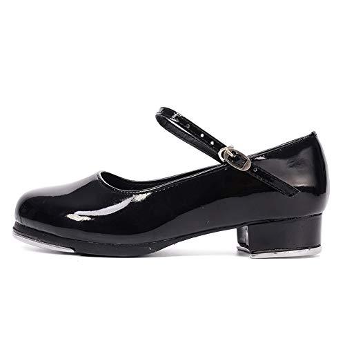 HROYL Niños & Niñas Zapatos Tap Zapatos Tap Dance Mujer Hombre TipTap Zapatos de Baile,TL12,Negro-3.5,EU33.5