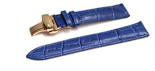 『腕時計 ベルト 21mm レザー クロコダイル型押し 牛 革 青 プッシュ式 Dバックル ピンク ゴールド l001bu-pd-p』のトップ画像
