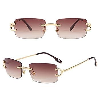 Small Rectangle Sunglasses for Women Men Rimless Sunglasses Ultralight 90s Glasses