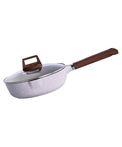 JKGHK Koekenpan, aluminiumlegering, diepe bodem van de pan, dik, evenwichtig glazen deksel, met hittebestendige handgrepen, voor huis, koken (24 cm)