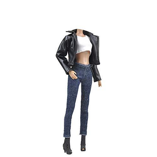 E-TING Mode Ledermantel Anzug Coole Wild Motorrad Stil Kleidung Fit für Mädchen Puppen , Biker Jacke - Ärmelloses Top - Jeans , Doll und Shoes Nicht im Lieferumfang Enthalten