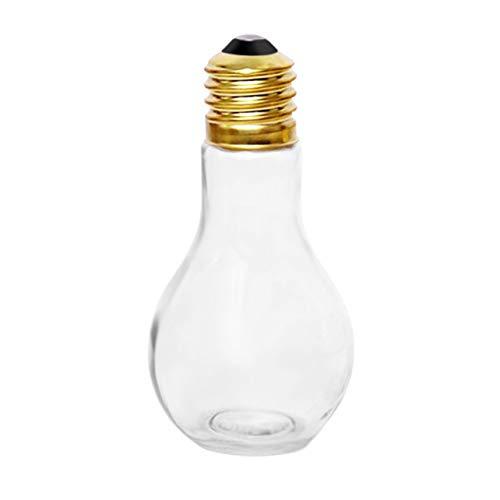 WOSOSEYEO Botella de Agua Creativa de la Bombilla del Verano Breve Bebida Linda del Jugo de la Leche de la Forma de la Bombilla de la Taza Tazas de Cristal a Prueba de Fugas de la Botella