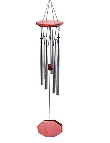 BETOY Windspiele im Freien, 75cm Memorial Windspiele mit Haken, 6 Aluminiumlegierung Rohre Wind Bell mit Holz Design, Geschenk für Gartenterrasse Hinterhof Home Decor Klingt knackig Windspiele