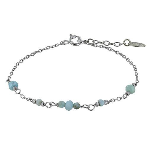 Schmuck Les Poulettes - Rhodium Silber Armband Sieben Kleine Larimar Facetten Perlen