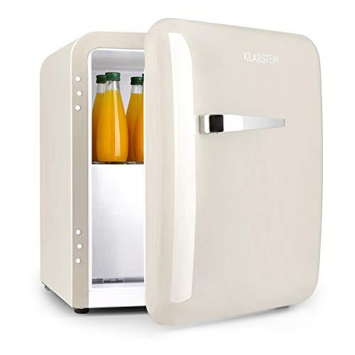 KLARSTEIN Audrey Mini 2in1 - Frigorifero Minibar, Mini Frigo Compatto, Posizionamento Libero, Raffreddamento a Compressione, Volume di 37 L, Temperature: 0-10 °C, Crema