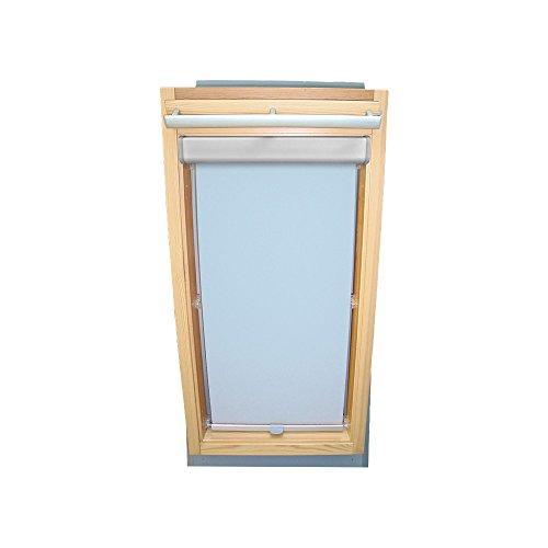 Rollo für VELUX Dachfenster Abdunkelungsrollo Komfort Premium für TYP GGL/GPL/GHL - 102 - Farbe hellblau - mit BLENDE und Haltekrallen - KLICK Montage