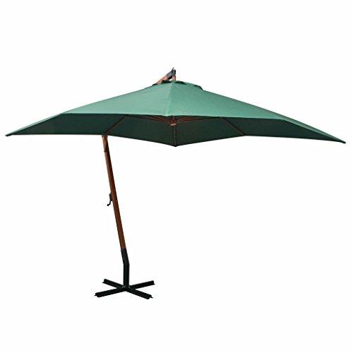 tidyard Sonnenschirm Ampelschirm Gartenschirm Freiarm Sonnenschutz Schirm Holzmast mit Kurbelmechanismus Stahl-Fu?kreuz 300 x 300 cm Grün