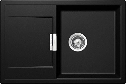 SCHOCK hochwertige Küchenspüle 76,5 x 51 cm Mono D-100 Magma - CRISTADUR schwarze Spüle mit Abtropffläche ab 50 cm Unterschrank-Breite