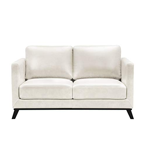 Abbyson Living Mid-Century Modern Premium Top Grain Leather Loveseat, Ivory