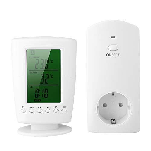 Bewinner Drahtlose Thermostatbuchse, Fernthermostat Programmierbare Drahtlose Thermostat & Sockel Haushalt Intelligente Temperaturregelung Sockel Heizung Kühlung Temperaturregler(EU Plug)