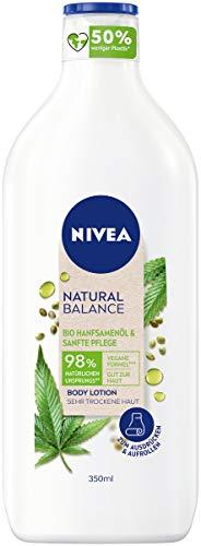 NIVEA Natural Balance Bio Hanfsamenöl & Sanfte Pflege Body Lotion (350 ml), feuchtigkeitsspendendeLotion, natürliche Hautpflege für sehr trockene Haut