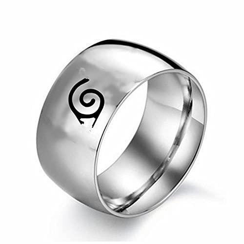12 mm anillo estrecho hojas konoho aldea símbolo signo logotipo Sasuke Ninja titanio acero anime cosplay joyas para hombres y mujeres