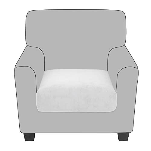 NLCYYQ Fundas de cojín elásticas de terciopelo, fundas de cojín de sofá antideslizantes con parte inferior elástica, fundas de cojín para cojines individuales (blanco, 1 pieza regular)