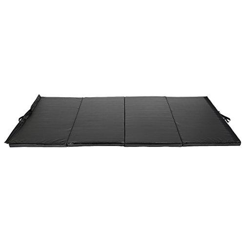 COSTWAY Weichbodenmatte klappbar, Gymnastikmatte tragbar, Yogamatte Turnmatte Klappmatte Fitnessmatte 240 x 120 x 5 cm (Schwarz)