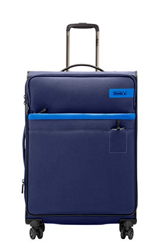 STRATIC Light Koffer weichschale Trolley Rollkoffer Reisekoffer 4 Rollen TSA-Zahlenschloss, erweiterbar, extra leicht, inkl. Einkaufsbeutel, Größe L, Navy