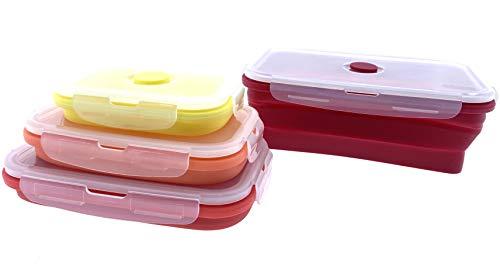 Home Creation Cajas de almacenamiento plegables para el almuerzo, fiambrera, juego de fiambreras de silicona