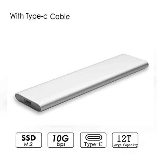 SUNSEATON USB 3.1 a M.2 B-Key con Cable Tipo C, USB 3.1 UASP a SATA NGFF M.2, 10 Gbps, 12T por Encima de Gran Capacidad, Estuche SSD Compatible con 2230/2242/2260/2280 Estuche para Disco Duro