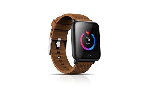 KawKaw Q9 Activity Tracker Wasserdicht IP68 Fitness Armband mit Pulsmesser 0,96 Zoll Farbbildschirm Smartwatch Aktivitätstracker Pulsuhren Schrittzaehler Uhr Smart Watch Fitness Uhr (Braun)