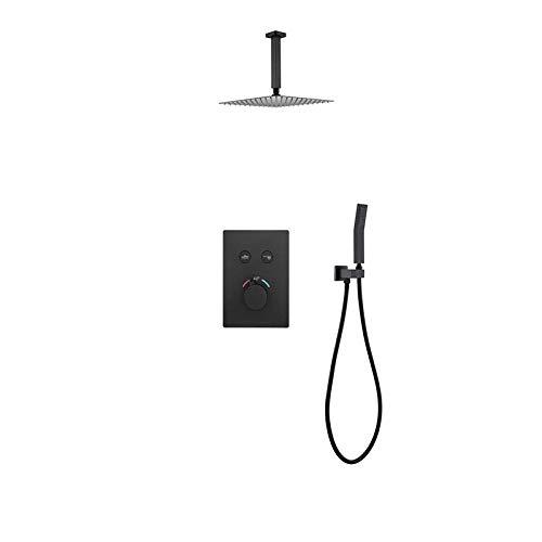 Ducha termostática de cobre oculta, empotrada en la pared caliente y fría oculta ducha negro mate travesaño negro de 25,4 cm de acero inoxidable