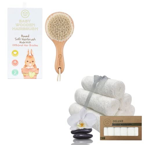 Baby Round Hair Brush and Organic Bamboo Washcloths Bundle - Baby Grooming Care Bath Essentials for Newborn, Babies and Toddlers - Best for Delicate Skin, Cradle Cap, Face Towels