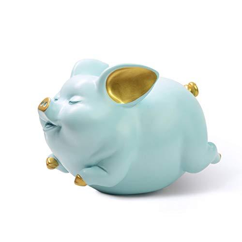 Guoqunshop Hucha de resina de estilo nórdico, caja de cambios de gran capacidad, hecha a mano, exquisita hucha de cerdo, caja de regalo para adultos y niños (color azul)