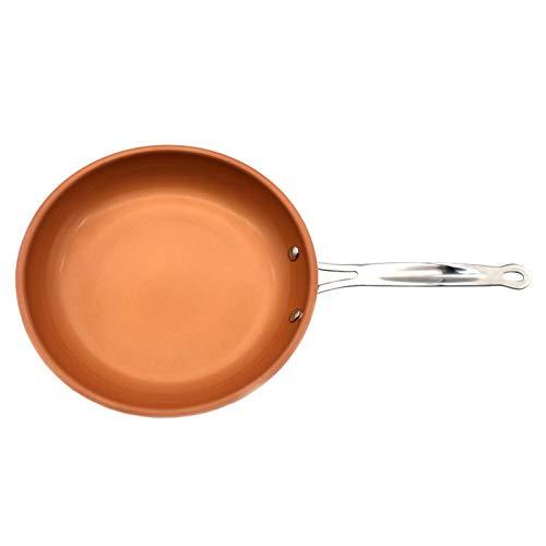 OMVOVSO Antihaft Kupferpfanne Mit Induktion, Kupfer Beschichtete Palatschinken Pfannen Bratpfanne Keramik Titan Beschichtung,Orange,M