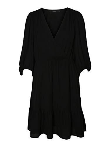 VERO MODA Damen Kleid Dana Minikleid mit 3/4-Ärmeln10221763 Black M