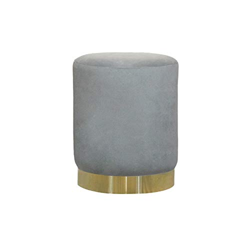 DTLEO Reposapiés acolchado de terciopelo tapizado, taburete de tocador, asiento de mesa, tocador para dormitorio, sala de estar con patas de metal dorado (gris)