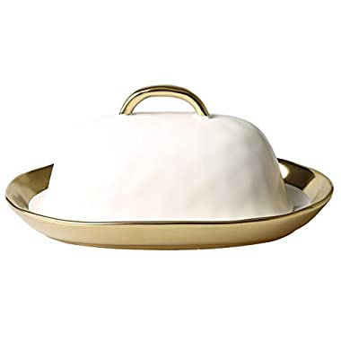 Bezrat Porcelain White Covered Modern French Butter Dish with Gold Lid