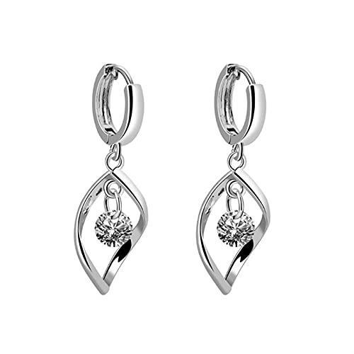 XIALIMY Joyería New Faux Crystal Girar Zircon Pendientes Moda Mujeres Gota Agua Colgante Pendiente Charm Lady Long Ear Jewelry