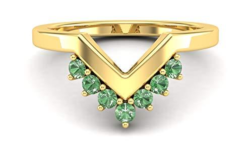 Gemshiner Wishbone V Shape Tsavorite Stacker Ring in Rhodium Plated 925 Sterling Silver (Yellow Gold Plating)