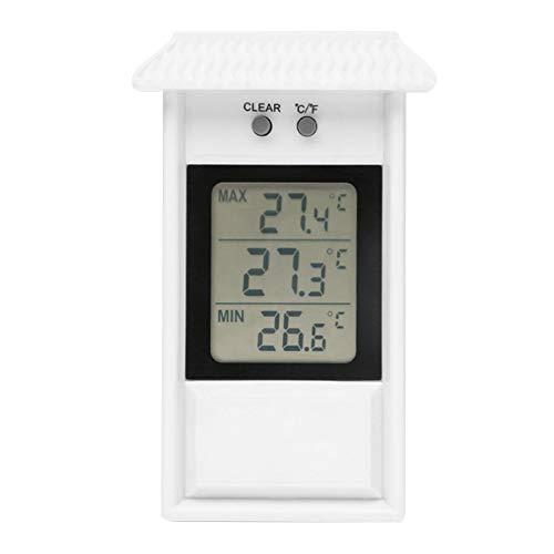 Nicejoy Termómetro De Invernadero Termómetro Digital MAX Min Greenhouse Humedad Medidor Sensor Interior Aire Libre Apariencia Fácil De Monte Accesorios para Jardín Blanco