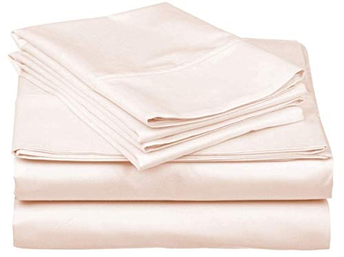 Rajlinen 600-Thread-Count Best 4 PC Sheet Set 100% Long-Staple Combed Cotton Bedding Sheets for Bed, Fits Mattress Upto 18'' Deep Pocket, Soft & Silky Sateen Weave - (Ivory Solid, Short Queen)