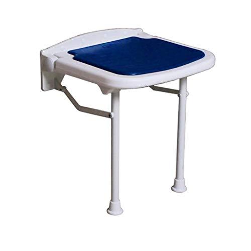 Relaxbx kruk opvouwbare muur douche muur gemonteerd douche stoel opvouwen verandering schoenen voor ouderen/gehandicapte anti-slip stoel met benen in blauw Max. 250 kg(3 maten) (maat: 42,5 cm)