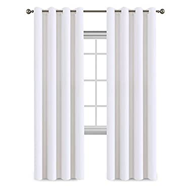 Flamingo P Room Darkening Curtain White Solid Pattern Drape, Thermal Insulated, Grommet Top, (Single Panel, 52 inch Wide by 84 inch Long, Pure White)