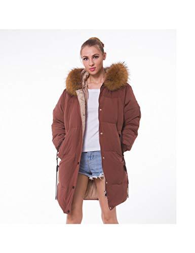 LJPHMM Winter Jacket Womens Female Long Down Parka White Down Jacket Loose Women Winter Hooded Coat,Daunenjacke,Camel,S