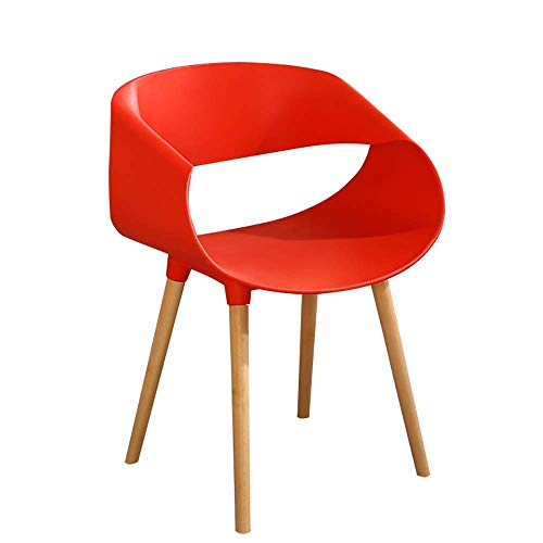 Stoelen en krukken Nordic Creative massief houten eetkamerstoel, Chic Bistro Cafe Side Chair Leisure Chair bureaustoel, Modern Planken met rugleuning Bar Stoel met Stevige Stevige Houten (Kleur: Rood)
