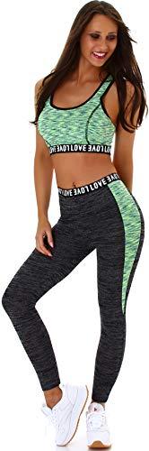 StyleLightOne Damen Fitness Set Sport Zweiteiler Freizeit Zweifarbig Stretch High-Waist Crop-Top Leggings Racerback, One Size 36 S, Grün