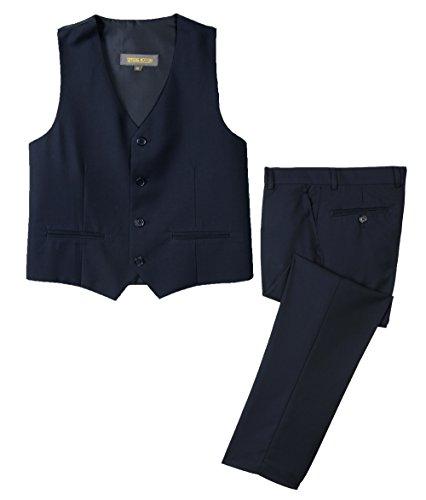 Spring Notion Boys' Formal Dress Suit Set 8 Black Suit Navy Tie