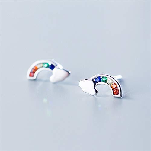 VTXWL Pendientes de tuerca de plata de ley 925 con cristales coloridos y arcoíris para mujeres y niñas, hechos a mano