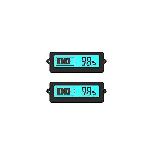 DollaTek 2Pcs LY6N 12V-96V Batteria al piombo 3S-15S Batteria al litio Tester di capacità della batteria digitale, Indicatore percentuale di batteria con display LCD - Retroilluminazione blu